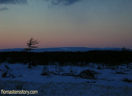 зимний вечер на Сахалине