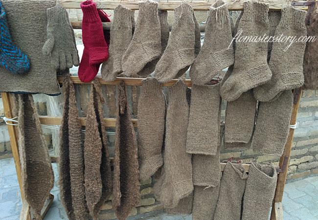 вязаные носки из верблюжьей шерсти